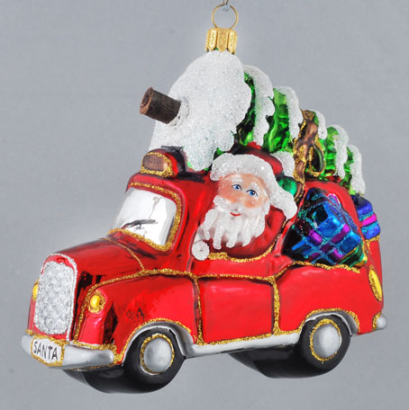 SANTA'S RED CAR WITH GIFTS