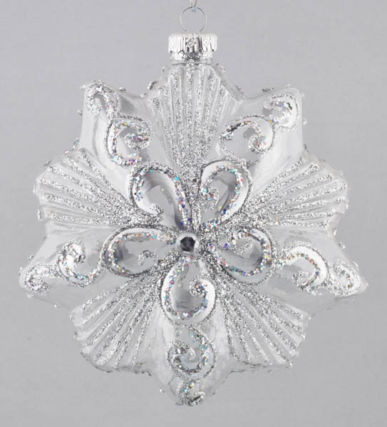 ELEGANT SILVER HANDMADE POLISH GLASS DECORATION