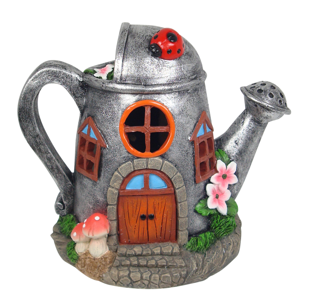 SOLAR WATERING CAN FAIRY HOUSE